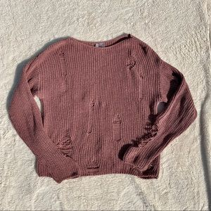 Divided Ripped Destroyed Mauve Sweater 🐾